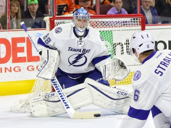 (Amy Irvin/The Hockey Writers) Andrei Vasilevskiy is a hot commodity in keeper leagues, but not so much in single-season formats since he's stuck behind Ben Bishop in Tampa Bay. Vasilevskiy should play more than seasons past and he'll definitely win more than he loses.