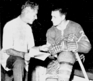 Gilles Tremblay receives training advice from physiotherapist Bill Head