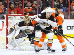 Cam Fowler and Frederik Andersen (Amy Irvin / The Hockey Writers)