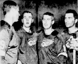 Gordie Howe with former Leafs Don McKenney, Billy Harris and Andy Bathgate.