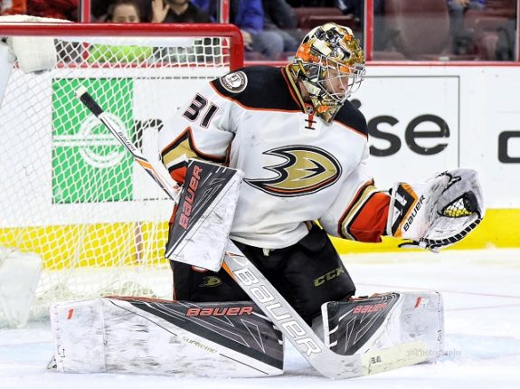 (Amy Irvin/The Hockey Writers) Could you imagine Frederik Andersen in a Sharks jersey, forming a tandem with Martin Jones? That's tough to envision too, but Andersen might be the best piece to target if the Sharks were willing to trade Marleau to the rival Ducks.