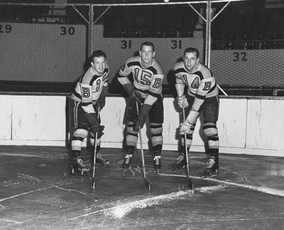 """The famed Bruins """"Kraut Line,"""" with Bobby Bauer, Milt Schmidt and Woody Dumart."""