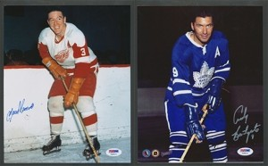 Detroit traded Marcel Pronovost (left) for Toronto's Andy Bathgate.