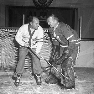Billy Reay with Leaf goalie Johnny Bower.