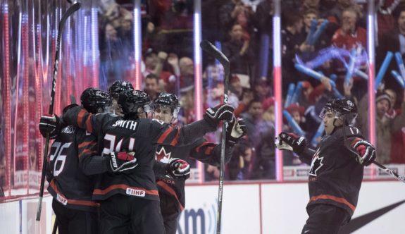 Team Canada players celebrate