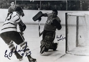 Eddie Shack beats Gump Worsley for Leafs first goal.