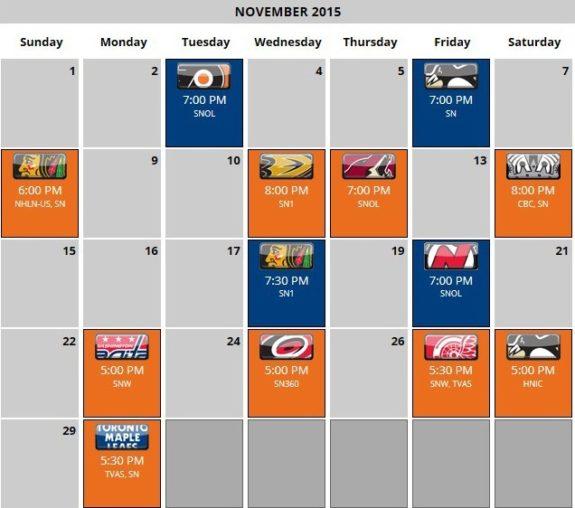 Oilers Schedule - November 2015