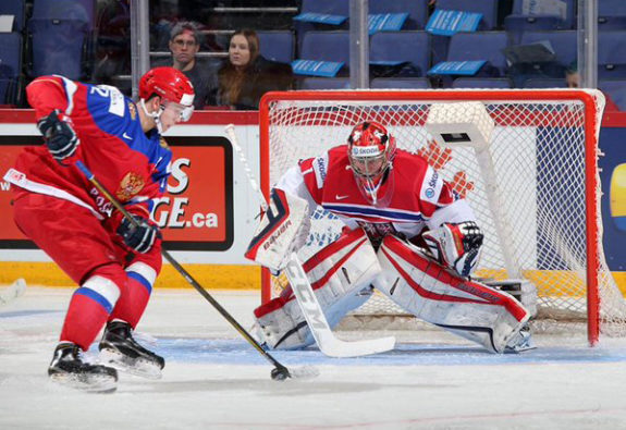 Vitek Vanecek playing for the Czech national team in 2015.