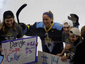 Meghan Duggan poses with fans before the Skills Competition (photo credit : Elaine Shircliff)
