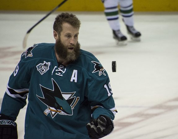 (Photo credit Zeke/THW) Joe Thornton's beard was in its infancy back here in March. It's a lot longer and bushier now, and a little lighter or greyer too.