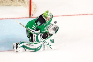 UND goalie Cam Johnson (Matt Schill, UND athletics)