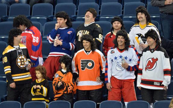 The Travelling Jagrs Flames NHL Game Jaromir Jagr Traveling Jagrs Mullets Jerseys