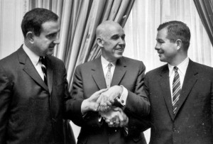 Gordon Ritz, right, with Clarence Campbell and George Fleherty