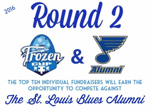 Round 2 vs. the Blues Alumni will feature the top 10 fundraisers of the Frozen Cup this year.