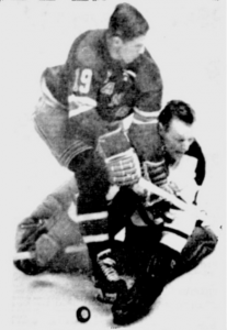 This is the play on which Johnny Bower was injured Sunday night.