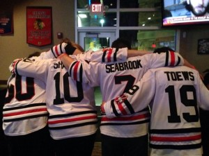 Chicago Blackhawks fans showing their pride