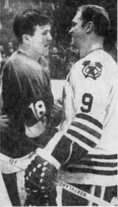 Bryan Watson, Bobby Hull shake hands after bitterly-fought series.