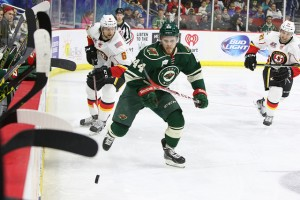 Christoph Bertschy skating with the Iowa Wild. Courtesy of the Iowa Wild