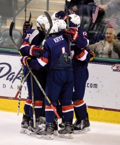 Team USA Celebrates during the 2016 IIHF U18 World Championship (Russ Hons Photography