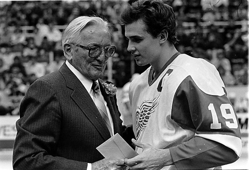 Steve Yzerman and Sid Abel of the Detroit Red Wings.