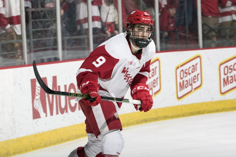 Luke Kunin of the Wisconsin Badgers