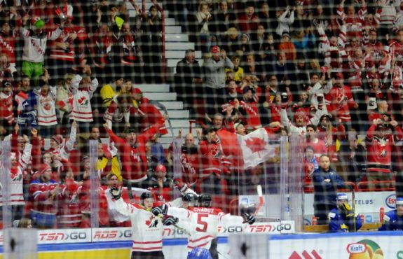 Canada celebrates goal against Sweden during 2016 World Junior Hockey Championships in Helsinki, Finland. Photo courtesy: Dave Jewell