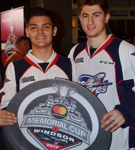Windsor Spitfires' Michael DiPietro and Gabriel Vilardi. Photo Courtesy: Dave Jewell