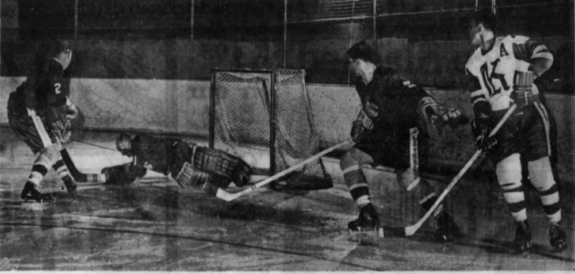 Nashville goalie Marv Edwards denies a late Knoxville scoring attempt.