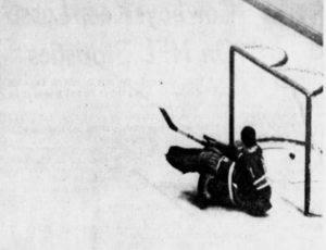 Rangers goalie looks back in dismay after he was beaten by Pierre Pilote's shot in the 1st period of last night's game.
