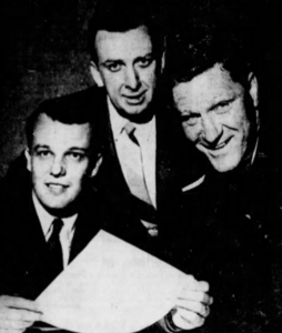 Jack Riley, centre, and Red Sullivan (right) will guide the fortunes of the new Pittsburgh NHL team. Senator Jack MacGregor is on the left.