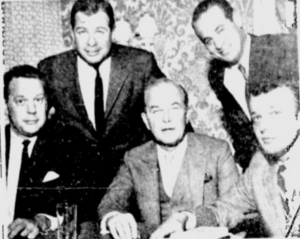 Five of the six new NHL owners. Standing: Gordon Ritz (MIN), Sid Salomon (STL) Seated: Bill Putnam (PHI, Jack Kent Cooke (LA), Jack MacGregor (PIT)