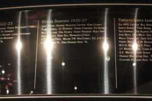 Photo by: Scott Campbell A listing of the 1927 Ottawa Senators team that won the Stanley Cup