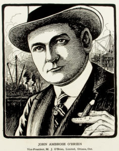 Photo credit to Wikipedia and an illustration of Ambrose O'Brien done by Arthur George Racey.