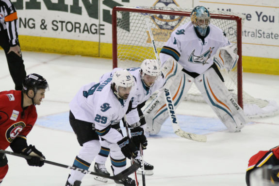 San Jose Barracuda lineup for a face-off