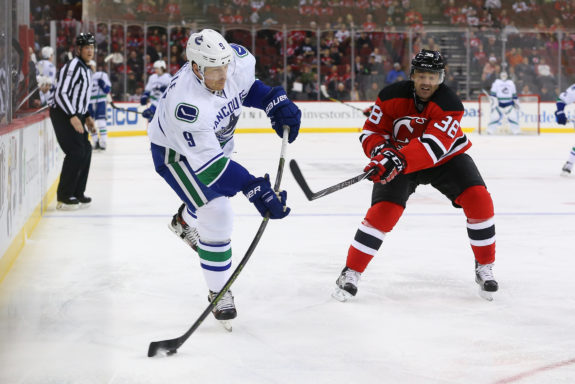 New Jersey s Vernon Fiddler defends against Jack Skille. (Ed Mulholland-USA  TODAY Sports) ad359e996
