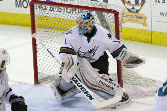 San Jose Barracuda goaltender Troy Grosenick