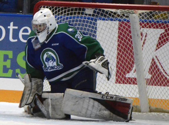Joel Hofer of the Swift Current Broncos