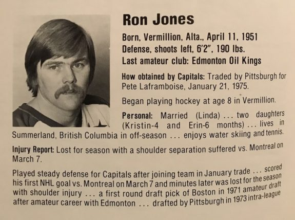 Ron Jones Washington Capitals 1974-75 NHL Season