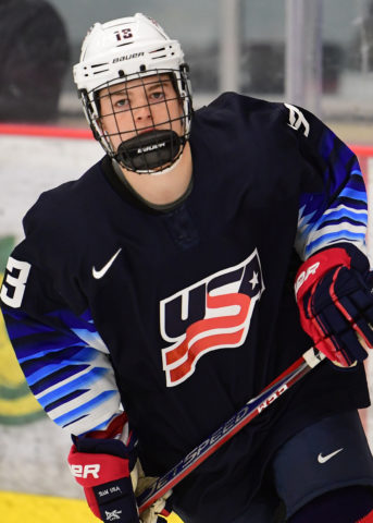 Cole Caufield of the U.S. National Development Program