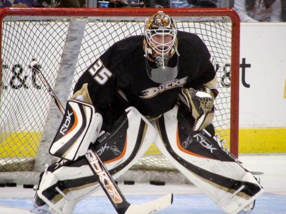 J.S. Giguere in goal