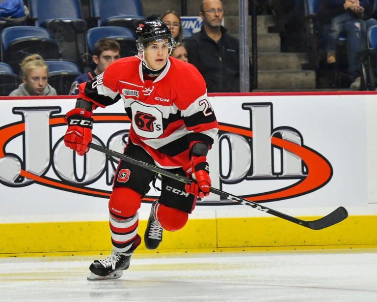 Nikita Okhotyuk of the Ottawa 67's