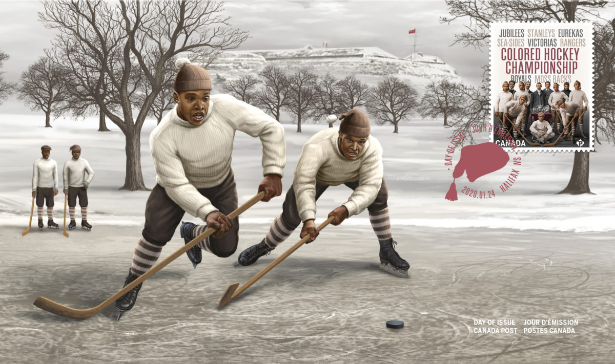Black History Colored Hockey Championship stamps poster