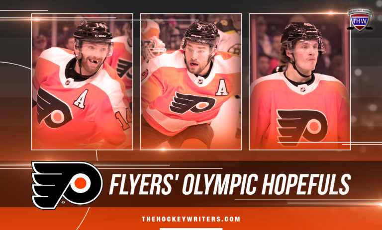Sean Couturier, Ivan Provorov, and Joel Farabee Philadelphia Flyers' Olympic Hopefuls
