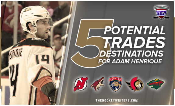 Five potential trades destinations for Adam Henrique New Jersey, Arizona, Florida, Ottawa and Minnesota.