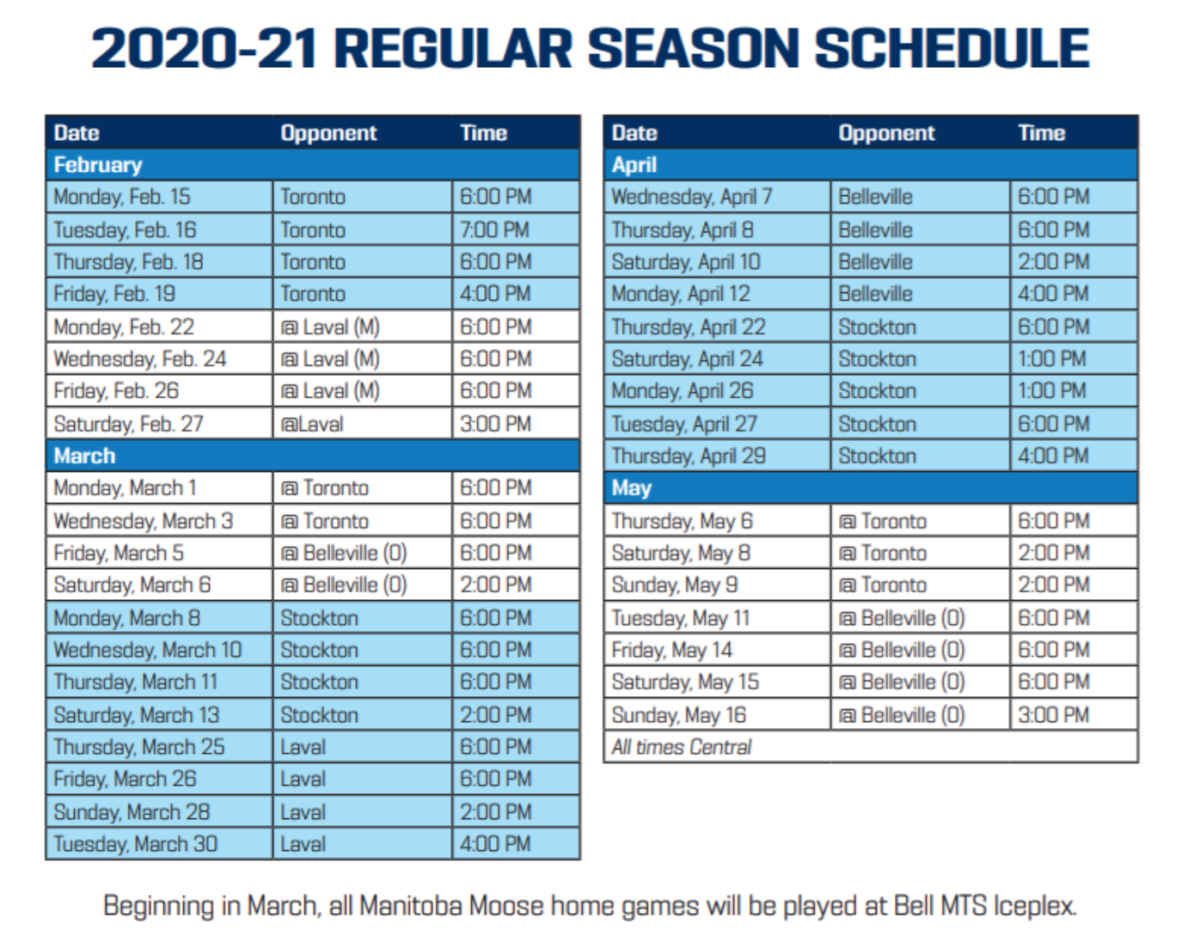 Manitoba Moose 2020-21 regular season schedule