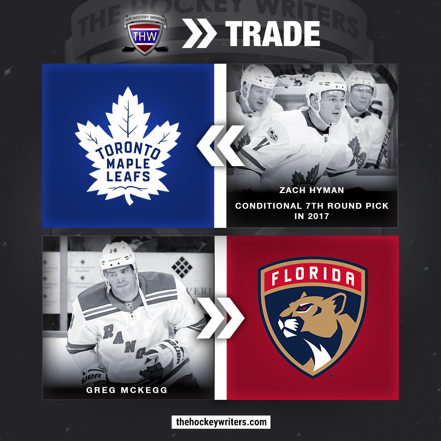 Toronto Maple Leafs receive: Zach Hyman, conditional 7th round pick in 2017 Florida Panthers receive: Greg McKegg