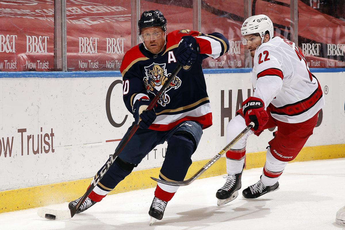 Patric Hornqvist Florida Panthers Brett Pesce Carolina Hurricanes Panthers