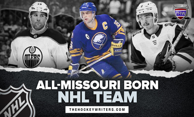 All-Missouri Born NHL team Pat LaFontaine, Pat Maroon, and Clayton Keller