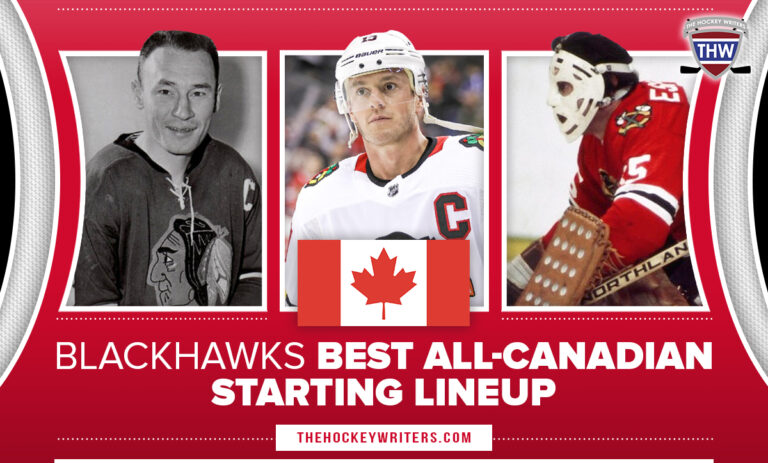 Chicago Blackhawks Best All-Canadian Starting Lineup Jonathan Toews, Pierre Pilote, Tony Esposito.
