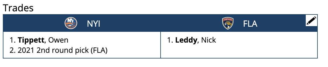Nick Leddy Mock Trade to the Florida Panthers